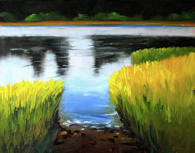 Painting - Through The Rushes by Nancy Merkle