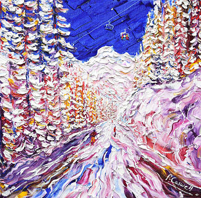 Snowboarding Painting - Through The Trees Les Arcs 1600 by Pete Caswell