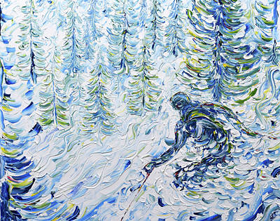 Painting - Through The Trees Les Gets Morzine by Pete Caswell