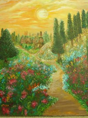 Tuscan Hills Painting - Through The Tuscan Hills by Marie Dulny
