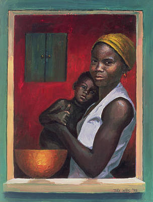 African American Art Painting - Through The Window by Tilly Willis