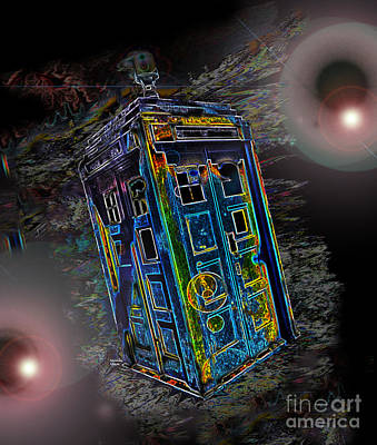Converse Digital Art - Tardis - Through Time And Space by Rhonda Chase