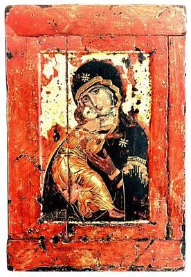 Ththe Virgin Eleusa Of Vladimir - 17 Century Art Print by Evgeni  Andreev