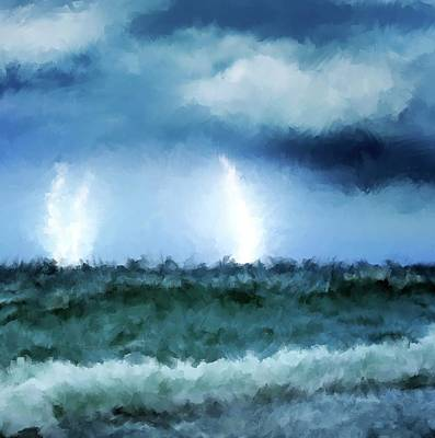 Summer Thunderstorm Painting - Thunder And Lightning At Sea by Michael Greenaway