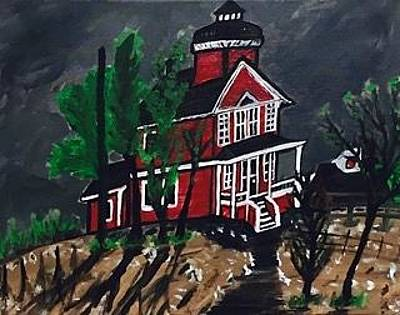 Painting - Thunder Bay Island Lighthouse by Jonathon Hansen