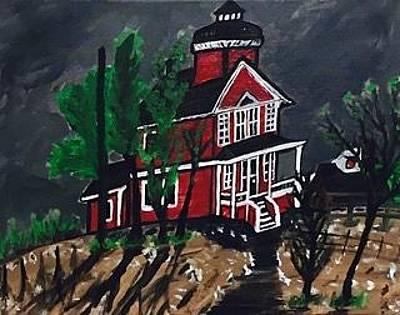 Painting - Thunder Bay Island Lighthouse by Jonathon Hansen