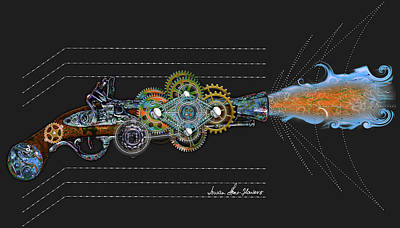 Digital Art - Thunder Gun by Iowan Stone-Flowers
