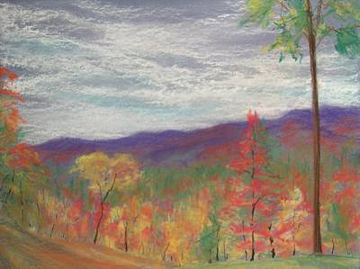 Fall Foliage Drawing - Thunder Mountain by Pete Maier