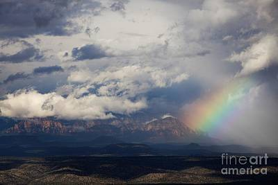 Photograph - Thunder Mountain Rainbow From Jerome by Ron Chilston