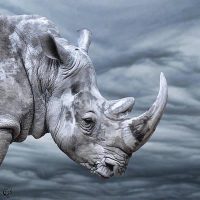 Manip Photograph - Thunderous Rhino by Stephen Kinsey