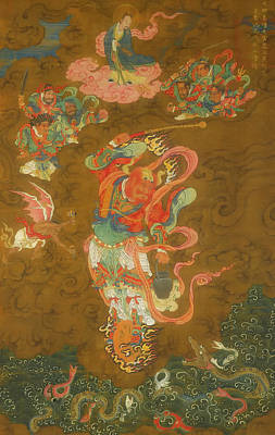 On Silk Painting - Thunder by Unknown China