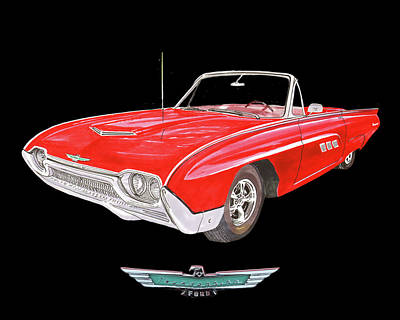 Painting - Thunderbird 1963 Convertible by Jack Pumphrey