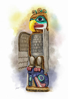 Alaska Totem Pole Painting - Thunderbird And Whale by David Wagner