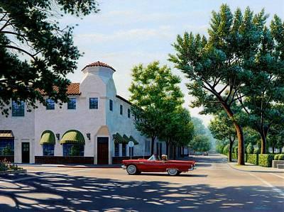 Convertible Painting - Thunderbird In Carmel by Frank Dalton