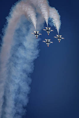 F-16 Photograph - Thunderbirds Diamond Formation by Rick Berk