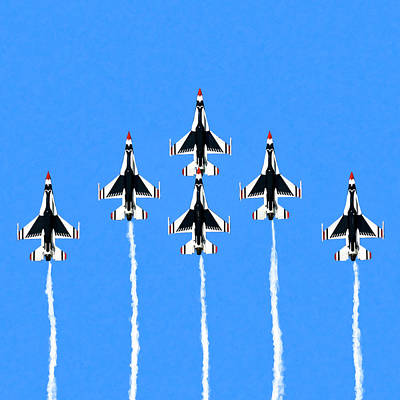Jets Mixed Media - Thunderbirds Flying In Formation by Mark Tisdale