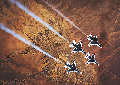 Photograph - Thunderbirds In Diamond Roll Formation by U S A F