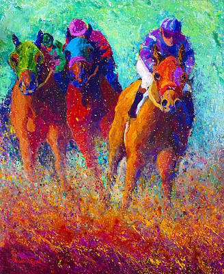 Horse Racing Painting - Thundering Hooves by Marion Rose