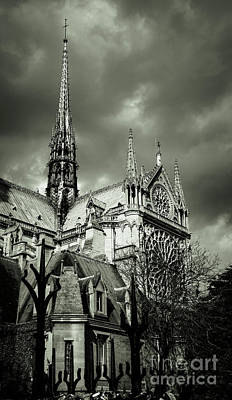 Photograph - Thunderous Notre Dame Black And White by Marina McLain