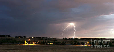 Lightning Photograph - Thunderstorm Edge Late Afternoon Storm Lightning Strike Idaho Co by Christopher Boswell