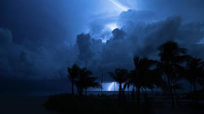 Photograph - Thunderstorm Lightning Bolt Delray Beach Florida by Lawrence S Richardson Jr