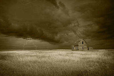 Abandoned Houses Photograph - Thunderstorm On The Prairie In Sepia by Randall Nyhof
