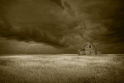 Thunderstorm On The Prairie In Sepia Art Print