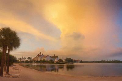 Disney Artist Painting - Thunderstorm Over Disney Grand Floridian Resort by Bill McEntee