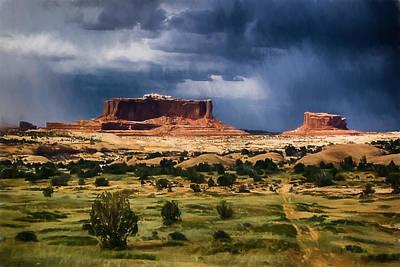 Digital Art - Thunderstorms Approach A Mesa by John Haldane