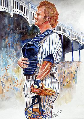 New York Yankees Drawing - Thurman Munson by Dave Olsen