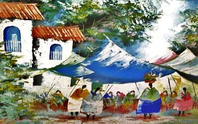 Basket Head Painting - Tianguis Market by Beltran