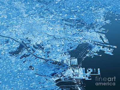 China Digital Art - Tianjin Topographic Map 3d Landscape View Blue Color by Frank Ramspott