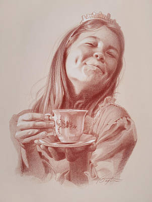 Colored Pencil Portrait Drawing - Tiara And Tea by Todd Baxter