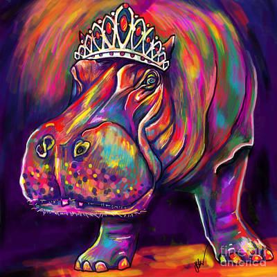 Hippopotamus Digital Art - Tiara by Julianne Black