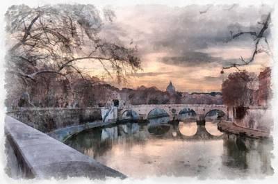 Photograph - Tiber - Aquarelle by Sergey Simanovsky