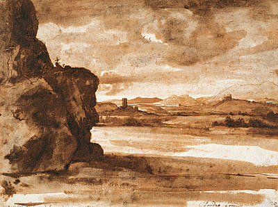 Landscape Drawing - Tiber Landscape North Of Rome With Dark Cloudy Sky by Claude Lorrain
