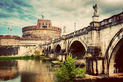 Castel Santangelo Wall Art - Photograph - Tiber River And The Sant'angelo Bridge by Michal Bednarek