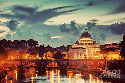 Photograph - Tiber River In Rome, Italy At Late Sunset, Evening by Michal Bednarek