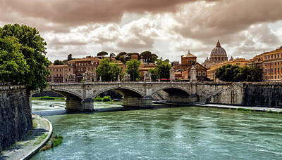 Photograph - Tiber River, Ponte Sant'angelo And St. Peter's Cathedral, Roma, Italy by Elenarts - Elena Duvernay photo