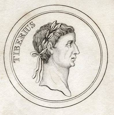Caesar Augustus Drawing - Tiberius I Tiberius Caesar Augustus by Vintage Design Pics