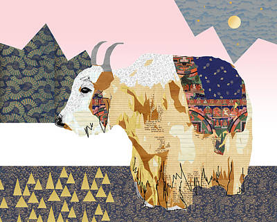 Cows Mixed Media - Tibet Yak Collage by Claudia Schoen