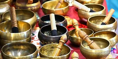 Photograph - Tibetan Bronze Singing Bowls by Yali Shi