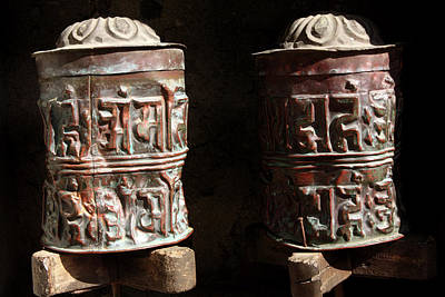 Photograph - Tibetan Buddhist Copper Prayer Wheels by Aidan Moran