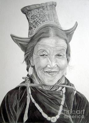 Tribal Women Drawing - Tibetan Delight by Enzie Shahmiri