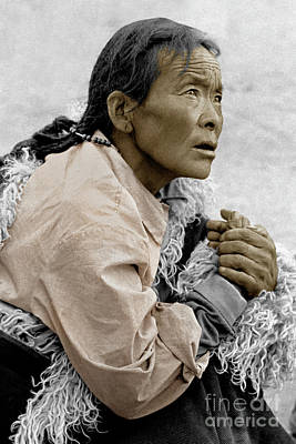 Photograph - Tibetan Pilgrim Praying - Lhasa, Tibet by Craig Lovell