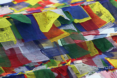 Photograph - Tibetan Prayer Flags At Boudhanath Stupa Nepal  by Nola Lee Kelsey