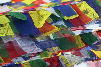 Photograph - Tibetan Prayer Flags At Boudhanath Stupa Nepal  by Nola Lee Kelsey