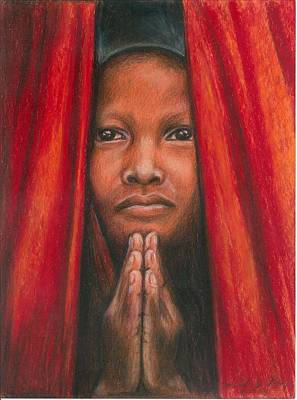Drawing - Tibetan Prayer by Linda Nielsen