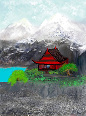 Digital Art - Tibetan Retreat by Dick Bourgault