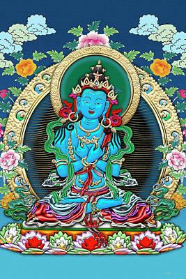 Digital Art - Tibetan Thangka  - Vajradhara -  Dharmakaya Buddha by Serge Averbukh